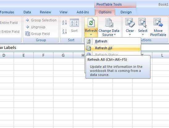 Office 2010 tip: How to refresh all pivot tables in Excel in one shot?