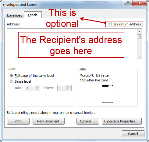 how to print labels word 2010