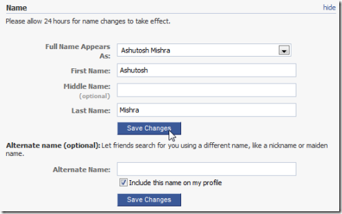 how to change your name on my cra account