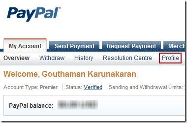 PayPal 1 Profile